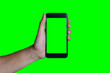canvas print picture - Man's hand shows mobile smartphone with green screen