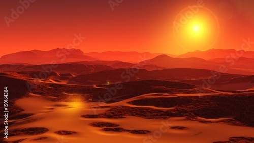 Photo Stands Cuban Red Landscape of Mars, Martian panorama, panorama of Mars, mountain landscape
