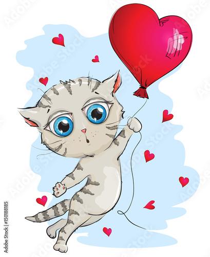 szary-kotek-lecacy-na-balonie