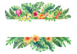 Leinwandbild Motiv Banner  with branches purple Protea flowers, plumeria, hibiscus and tropical plants. Hand drawn watercolor painting on white background.