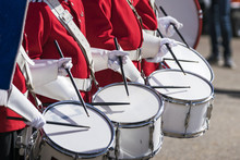 Drummers In Red Uniforms On A ...