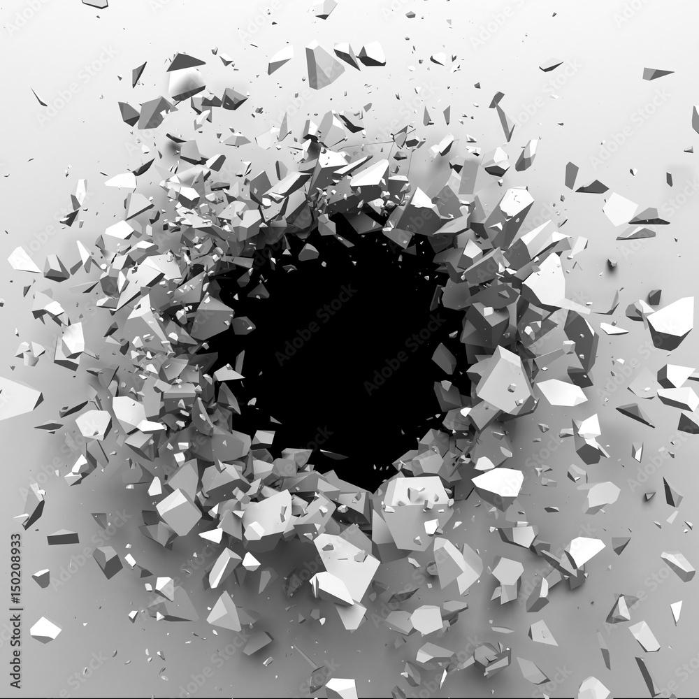 Pęknięty betonowy mur z dziury po kuli. Zniszczenie Abstrakcyjne tło. 3D odpłacają się ilustrację