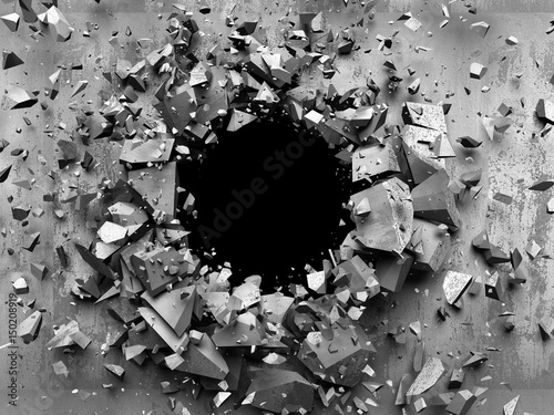 Fototapeta Cracked explosion concrete wall hole abstract background. 3d render illustration obraz