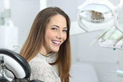 obraz PCV Dentist patient showing perfect smile after treatment