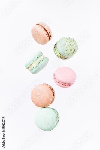 Fototapeta Macarons cake, top view flat lay, fly falling pattern macaroon
