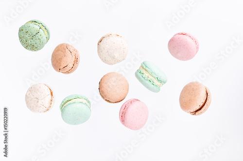 Poster Macarons Macarons cake, top view flat lay, fly falling pattern macaroon