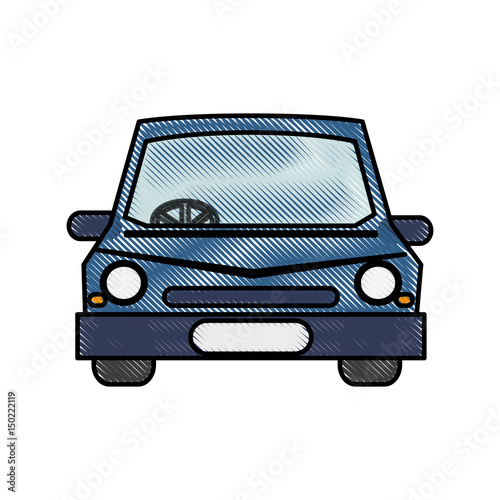 Color Blurred Stripe Caricature Image Front View Car Vector