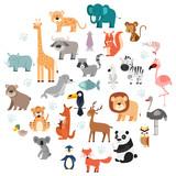 Fototapeta Fototapety na ścianę do pokoju dziecięcego - Wildlife Animals Cartoon Set