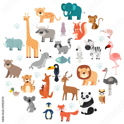 Photo  Wildlife Animals Cartoon Set