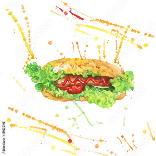 Watercolor hot dog with vegetables  Hand drawn meet fast
