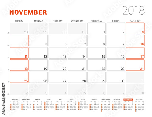 Calendar Template For 2018 Year November Business Planner With