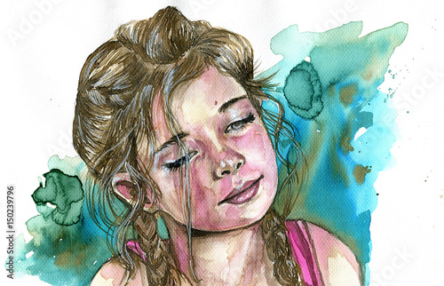 Montage in der Fensternische Aquarelleffekt Inspiration Watercolor portrait of a girl