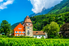 View Of The Famous Red House In Liechtenstein.