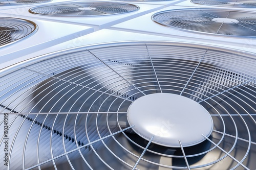 Close up view on HVAC units (heating, ventilation and air conditioning) Canvas Print