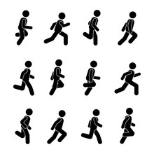 Man People Various Running Position. Posture Stick Figure. Vector Illustration Of Posing Person Icon Symbol Sign Pictogram On White.