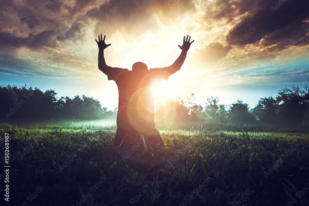 Fototapety, obrazy: Prayer in the morning in a beautiful sunrise