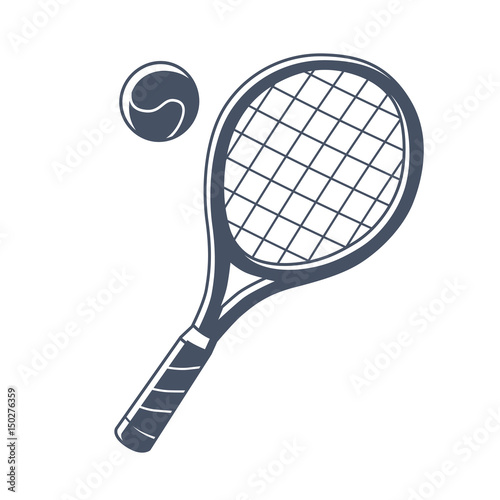 Plakát  Tennis racket and ball icon isolated.