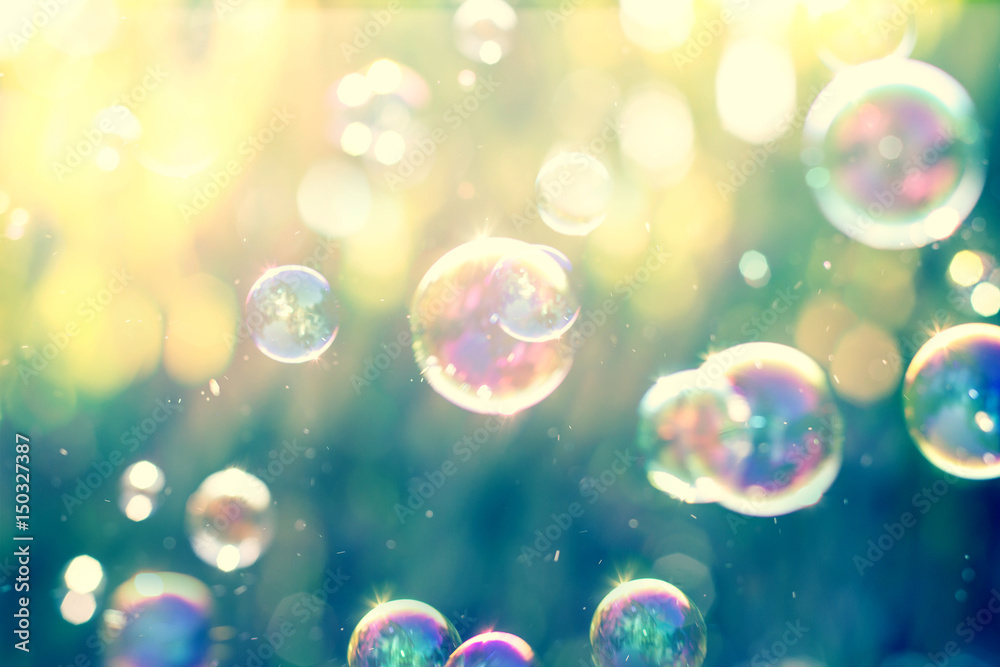 Fototapety, obrazy: The Abstract background from soap bubble in the air with nature defocused