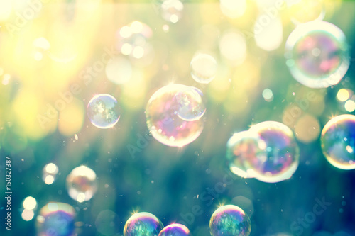Fotomural  The Abstract background from soap bubble in the air with nature defocused