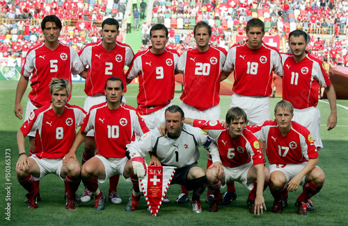 huge discount a7d14 a44c0 Swiss National soccer team players pose for a team photo ...