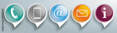 Fototapeta Speech Bubbles Glossy Contact Buttons Header obraz