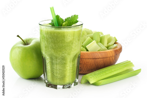 Detox smoothie with celery and apple on a white background. © vitals