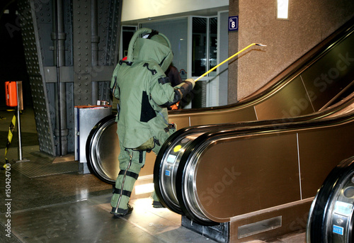 Belgian bomb disposal expert prepares to inspect platform