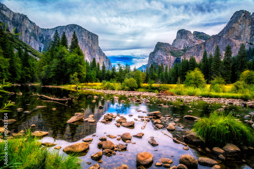 Yosemite Valley View featuring El Capitan, Cathedral Rock and The Merced River Wallpaper Mural