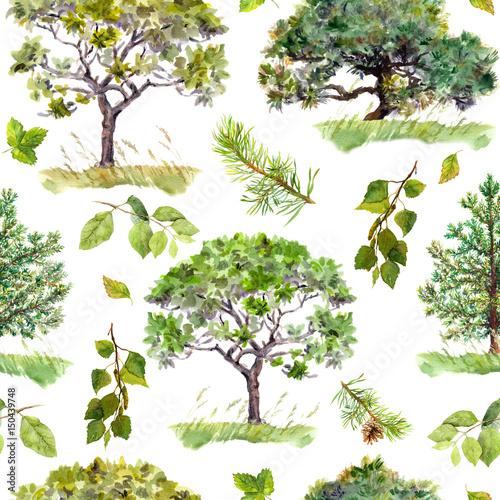 zielone-drzewa-park-wzor-lasu-powtarzajace-sie-tlo-akwarela
