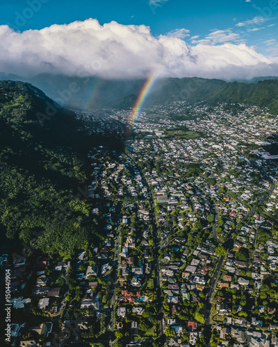 In de dag Groen blauw Aerial view of Hawaii