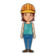 woman with safety helmet icon over white background. colorful design. vector illustration