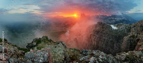 Fotografie, Obraz  Red mountain landscape panorama, Dolomiti