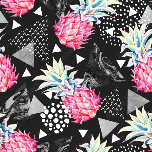 Canvas Prints Graphic Prints Watercolor pineapple and textured triangles seamless pattern.