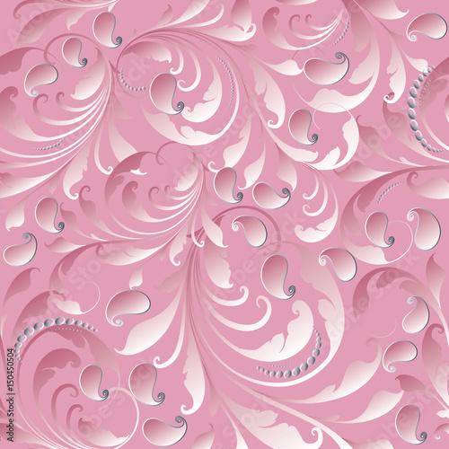 paisley seamless pattern light pink