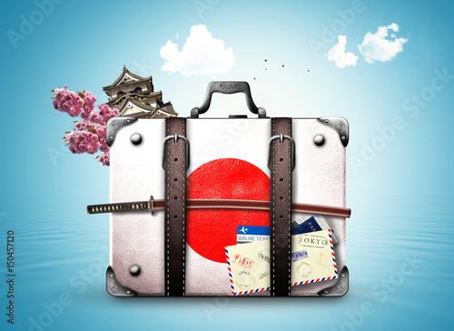 Foto op Plexiglas Japan Japan, retro suitcase with a Japanese flag and sword