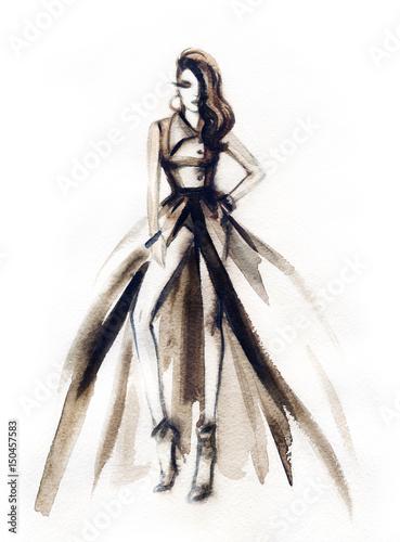 Poster Portrait Aquarelle Woman in elegant dress. Fashion illustration. Watercolor painting