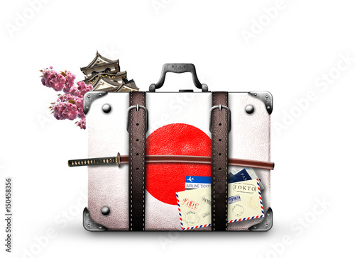 Tuinposter Japan Japan, retro suitcase with a Japanese flag and sword