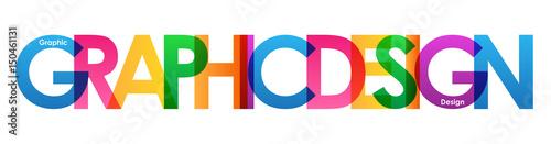 "Valokuva ""GRAPHIC DESIGN"" overlapping vector letters icon (multicoloured)"