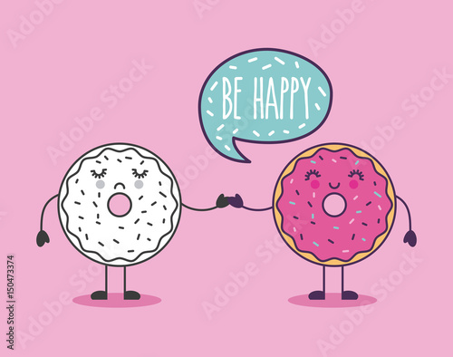 Photo  happy donut holding hand be happy lettering girly icon image vector illustration