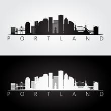 Portland USA Skyline And Landmarks Silhouette, Black And White Design.