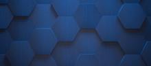 Dark Blue Hexagonal Tile Background (3d Illustration)