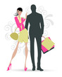Fashion figure of woman and man with the shopping bags in a day of summer
