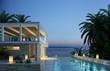 Leinwanddruck Bild - Villa am Meer Abends
