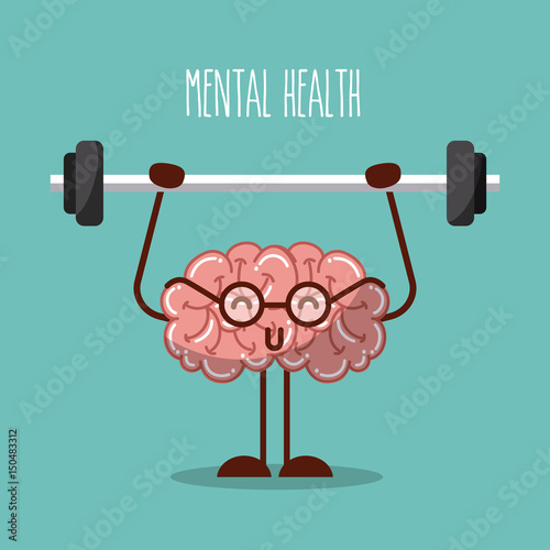 Stampa su Tela  mental health brain lifting weights image vector illustration design