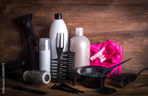 Fotografie, Obraz  Set of hairdressers on wooden background.