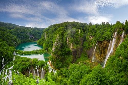 Fototapety, obrazy: morning over waterfalls in Plitvice park, Croatia