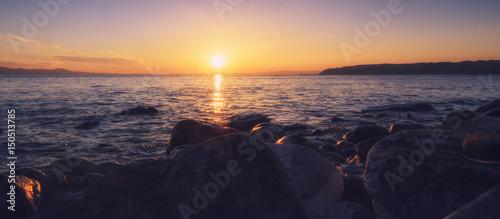 Fotografie, Obraz  Beautiful sunset in Halkidiki, Athos, Greece