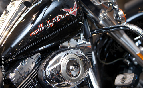 Fototapeta A Harley-Davidson motorcycle is seen at a dealership in downtown Rome