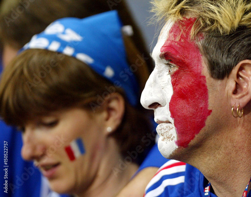 52c3b95e912 French soccer fans reacts after France tied 0-0 with  Uruguay  in a ...