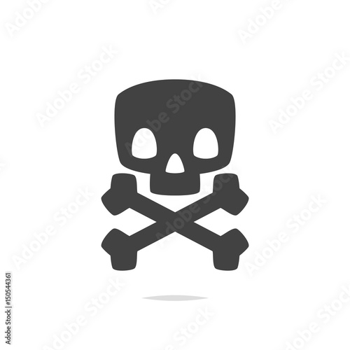 Skull and crossbones icon vector Poster
